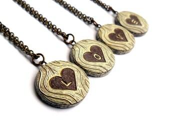 Personalized Necklace. Personalized Bridesmaid Necklaces. Bridesmaid Gift. Custom Initial Necklace. Wood Grain Jewelry. Woodland Wedding