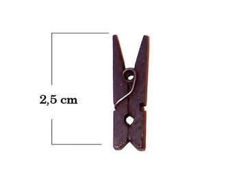Mini clothespin to chocolate brown color 2.5 cm set of 6 wooden
