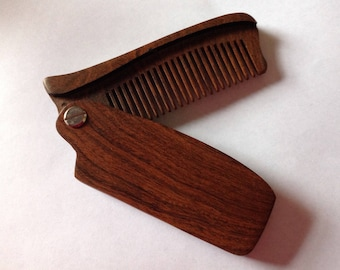 Black Sandalwood Folding Beard Comb Fine Tooth Comb Beard Basics Monogram Customization Available