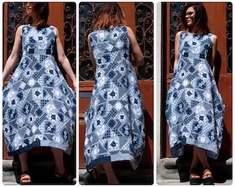 Summer Linen Blue Pattern Dress, Sleeveless with High Waist and Two Pockets; Boho Dress; Summer Dress