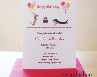 Dachshund Birthday Party Invitations - Choose your color (set of 10)