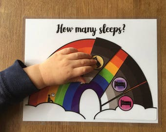 Countdown Chart, Countdown Calendar, Child's Visual Calendar, ASD, Autism, How Many Sleeps? Rainbow, Instant Download, Printable, Montessori