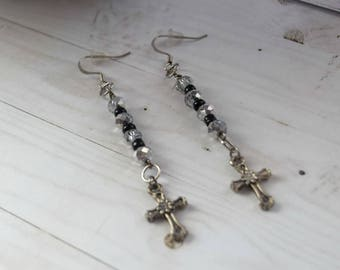 Earrings With Cross, Long Cross Earrings, Long Earrings, Silver and Black, Earrings Jewelry, , Silver Earrings, Cross Jewelry