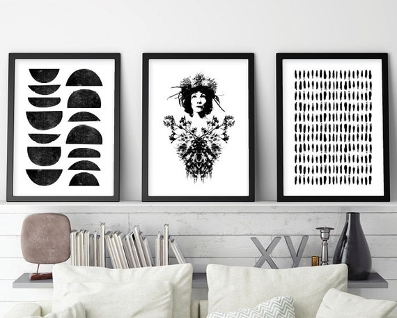 Set of 3 prints black and white art minimalist art set
