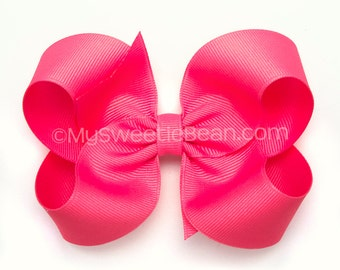 """Neon Pink Bow, 4 inch Grosgrain Bow, Neon Pink Hair Bow, No Slip Basic Bow for Girls, Baby, Toddlers, Neon Pink Boutique Bow, 4"""" Bow"""