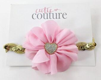 Pink and Gold Headband, Pink Headband, Valentine's Day Headband, Heart Headband, Pink and gold headband, flower headband, sequin headband