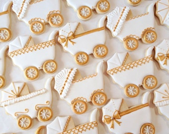 Elegant White and Gold Baby Carriage Cookies - One Dozen  Decorated Sugar Cookies perfect for Showers