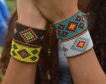 BOHO beaded Bracelet, Hippie bracelet, Cuff  beaded bracelet, Boho style jewelry, Leather cuff bracelet, Colorful bracelet, Boho chic jewel