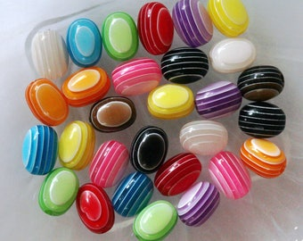 set of 10 oval beads multicolor