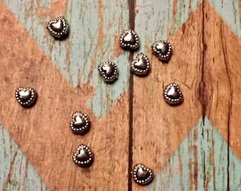 Tibetan Silver Heart Beads  6mm x 5mm  QTY 25 (H-100)
