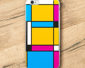 Tribute to Mondrian No3, Phone Case For iPhone 8 iPhone 8 Plus, iPhone X, iPhone 7 Plus, iPhone 6, iPhone 6S
