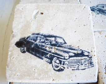 Designer Stone Drink Coasters Old Hollywood Car Set of 4 Mancave Coasters Gift For Her or Him Rustic Wedding Farmhouse Decor