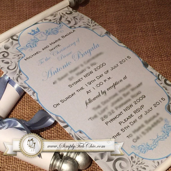 Prince baptism christening confirmation scroll invitation like this item filmwisefo Images
