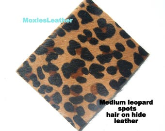 leather pieces- hair on hide print leather - leopard and zebraprint leather - leather hide with hair on -