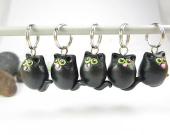 Black Cat Stitch Markers, cat knitting stitch markers, knitting accessories, cute cat charms, animal charms, polymer clay, cat lover gift
