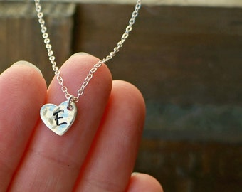 Personalized Silver Hammered Heart Necklace with Initial / Silver Heart Pendant on Sterling Silver Chain ... choose your CAPITAL letter