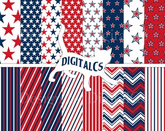 4th of July digital paper Independence day digital paper Commercial Patriotic red blue white stars stripes Printable Scrapbook paper