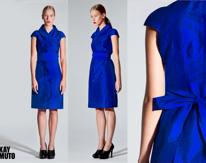 Silk wrap dress in kimono style Obi sash : Royalblue  Kingsblue Wildsilk raw silk dupioni