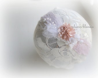 Camillia - Vintage Inspired Rosette Headband - White Pink - Lace Pearl Flowers - Newborn Infant Baby Girl Toddler
