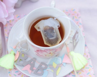 Tea Bags baby, onesie shaped . Birth . Baby shower . Favors