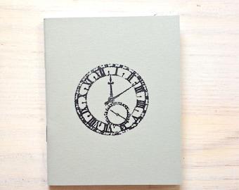 Medium Notebook: Clock, Time, Hipster, Grey, Stocking Stuffer, Vow Book, Wedding Favor, Wedding, Favor, Journal, Unique, Notebook O417