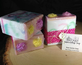 Handmade Vegan Soap Big chunky soap bar Rose Garden scent Detergent Free Shea Butter Soap Handcrafted Glycerin Soap Bars Gift for Mom