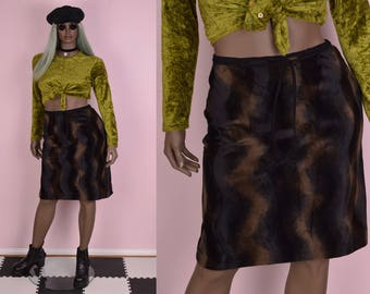 90s Brown and Black Fuzzy Wavy Pattern Skirt/ Large/ 1990s