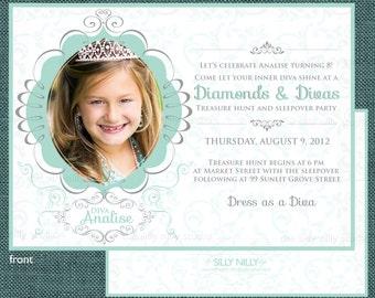 PRINTABLE Diva Birthday Princess Invitation, 5x7 Printable Diamonds and Divas