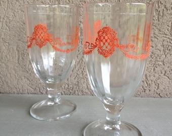 Red Crest Juice Glasses Pedestal Footed Crested Water Goblets Vintage Set 2 - #