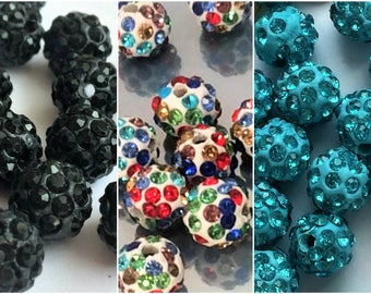 6 pcs  Beautiful  Round Disco Ball Spacer Bead 10/8mm, Czech Crystal Rhinestones Pave Clay bead, colorful and blue beads ,  shamballa beads