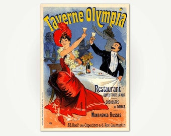 Taverne Olympia Jules Cheret Belle Epoque Poster Art Print - Vintage Belle Epoque Poster - Vintage French Poster Art