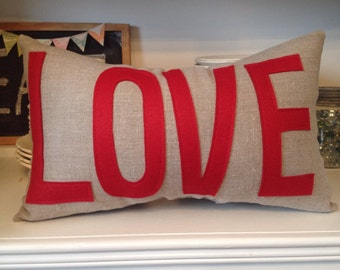 LOVE Pillow in Oatmeal Linen and Classic Red