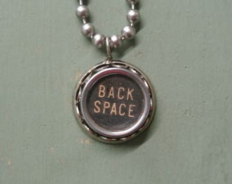 Back Space Typewriter Key Necklace, Authentic Punctuation Necklace, Vintage Typewriter, Antique, Numbers, A-Z Letters By UPcycled Works