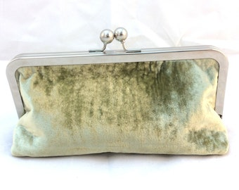 Moss Green Velvet Clutch Purse with Kiss-Lock Frame, 8-inch