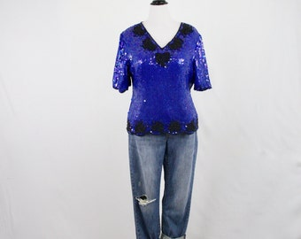 1980s Royal Blue Silk Sequined Evening Blouse Top XL by Steny