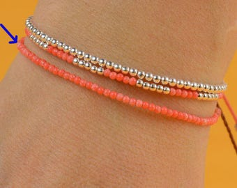 Tangerine color tiny beads bracelet