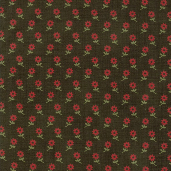 Little Red Flowers With Stems On Forest Green Background Petites Maisons De Noel by French General Fabric by the Yard Moda Fabrics 13794 16