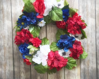 4th of July Wreath - Grapevine Wreath - Summer Wreath - Patriotic Wreath - Independence Day Wreath - Red, White, Blue Wreath- Fourth of July