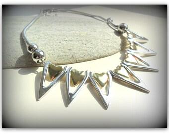 Shiny Silver Plate Spiky Heart Statement Necklace Silver and Gold Metal Heart Silver Heart Necklace UK Shop ETSY UK Girlfriend Gift