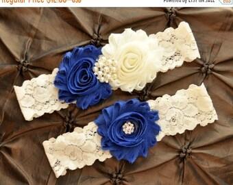 SALE Blue Wedding Garter, Bridal Garter Set - Ivory Lace Garter, Royal Blue Wedding Garter, Royal Blue Garter, Wedding Garter Set, Something