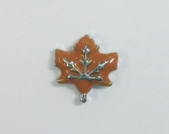 1 PC - Brown Maple Leaf Enamel Silver Charm for Floating Locket Jewelry F0116