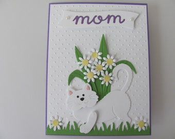 Mother's Day Handmade Cat Card, Cat Mom Card, Mother's Day Gift, Cat Lovers Card, Cat Mom Mother's Day Card,  Mom Card, Card From Cat