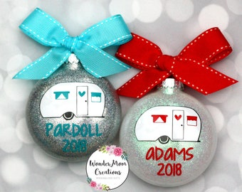 Personalized Camper Christmas Ornament; Happy Camper Family Christmas Ornament; Trailer Christmas Ornament; RV Retired Christmas Ornament