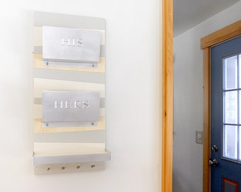 GEOMETRIC MAIL ORGANIZER: Personalized Couples His Her Engraved, Unique Wedding Gift for Entry Home Office Mail Organization with Shelf