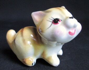 Vintage Tabby Kitten Figurine Kitty Cat Cute Hand Painted Adorable Ceramic Tiny