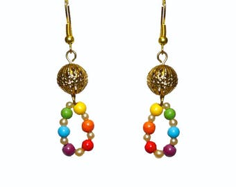Earrings turquoise and howlite stone zen girl women chakra Rainbow