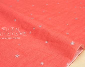 Japanese Fabric - Kobayashi starry double gauze - coral pink, metallic silver - 50cm
