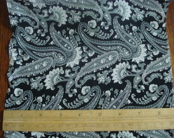 100% Silk Crepe de Chine - Exclusive Black/White/Grey Paisley