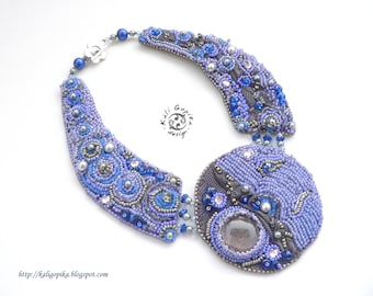 """Bead embroidered necklace """"Full Moon"""""""