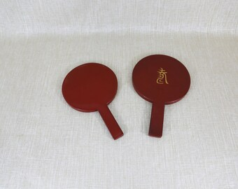 Pair of Red Lacquered Hand Mirrors
